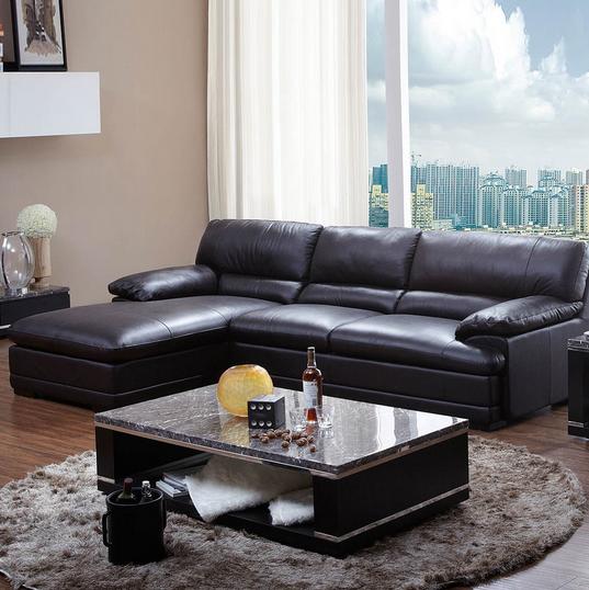 顾家家居 经典美式头层牛皮沙发客厅组合家具