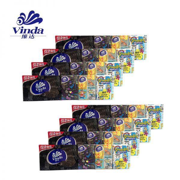 维达 海绵宝宝手帕纸三层手帕纸8条 共80包